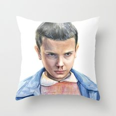 Eleven Stranger Things Watercolor Portrait Throw Pillow