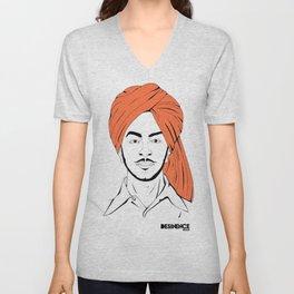 Bhagat Singh #IpledgeOrange Unisex V-Neck