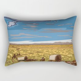 Vintage Poster - The Oregon National Historic Trail, Wyoming (2015) Rectangular Pillow