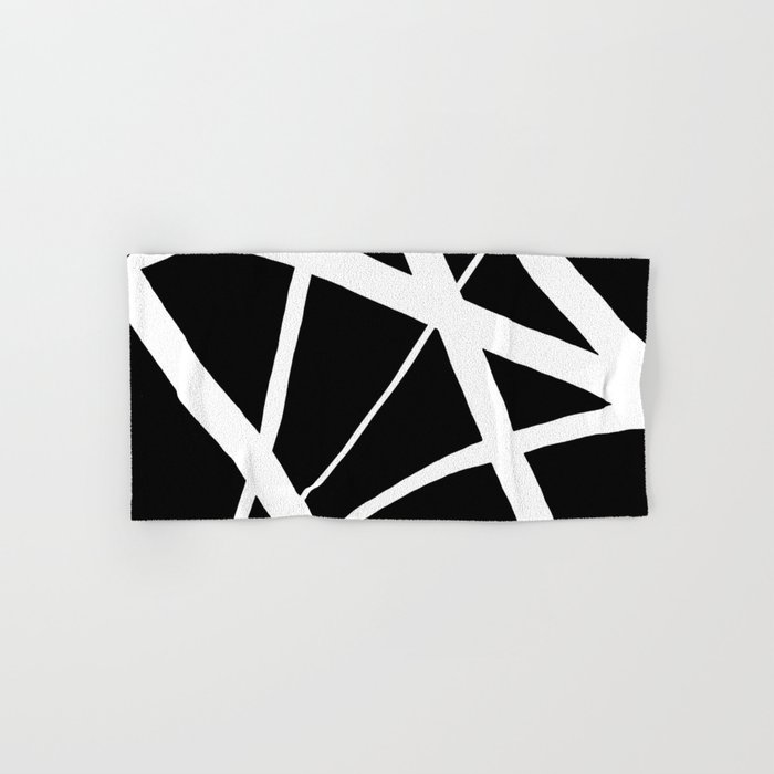 Geometric Line Abstract - Black White Hand & Bath Towel