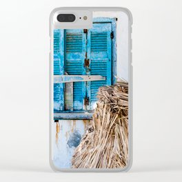 Distressed Blue Wooden Shutters and Beach Umbrella in Crete. Clear iPhone Case