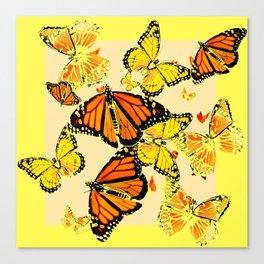 SOFT YELLOW & ORANGE MONARCH BUTTERFLIES MELANGE Canvas Print