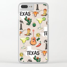 Classic Texas Icons Clear iPhone Case
