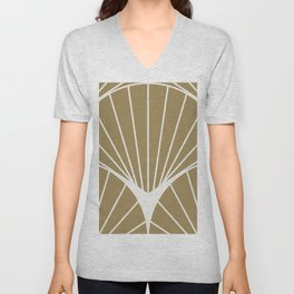 Diamond Series Round Sun Burst White on Gold Unisex V-Neck