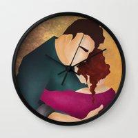hug Wall Clocks featuring Hug by Slavena Peneva