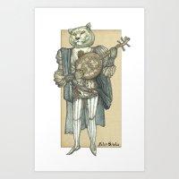 banjo Art Prints featuring Banjo Lion by Felis Simha