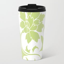 Oriental Flower - Daiquiri Green On White Background Travel Mug