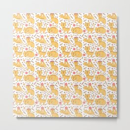 Cute hand painted yellow cat pink floral pattern Metal Print