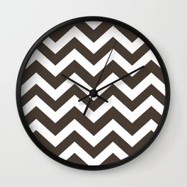 Dark taupe - brown color -  Zigzag Chevron Pattern Wall Clock