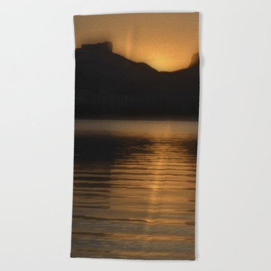 Melting gold evening Beach Towel