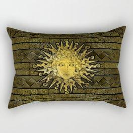 Apollo Sun Symbol on Greek Key Pattern Rectangular Pillow