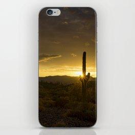 A Golden Saguaro Sunrise iPhone Skin