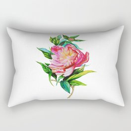 Bright Red and Pink Peony Rectangular Pillow