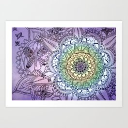 Purple Butterfly Mandala Art Print