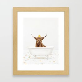 Highland Cow with Rubber Ducky in Vintage Bathtub Framed Art Print
