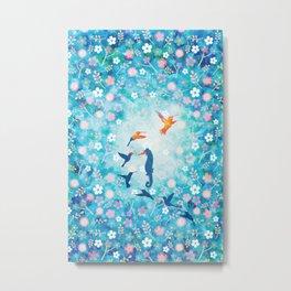 Flying bird , sea horse and flower pattern  Metal Print