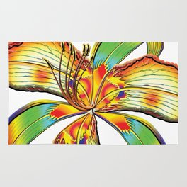 Rockin Tiger Lily Flower Psychedelic Abstract Rug