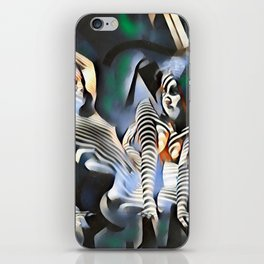 0169-PJ+NIS Sisters Abstracted Nude Zebra Girls in Green and Blue iPhone Skin