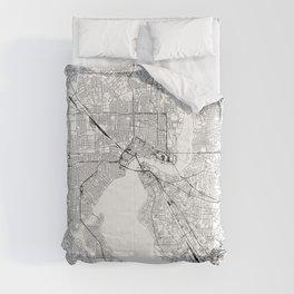 Jacksonville White Map Comforters