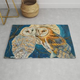 Owl Moon Stars (square comp) Rug