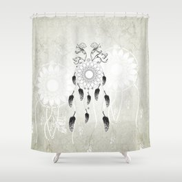Dreamcatcher in black and white Shower Curtain