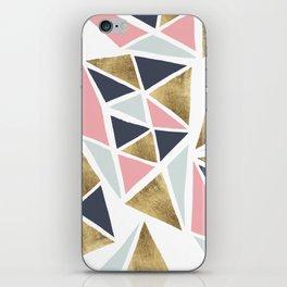 Modern geometrical pink navy blue gold triangles pattern iPhone Skin
