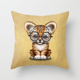 Cute Baby Tiger Cub Wearing Eye Glasses on Yellow Throw Pillow