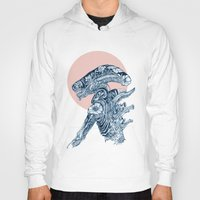 xenomorph Hoodies featuring Floral Alien by Marie Toh