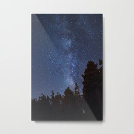 Starry night with the Milky Way in a pine forest Metal Print