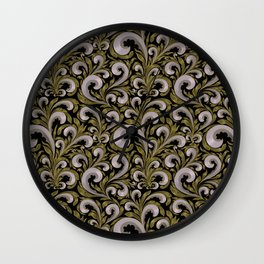 Intricate Victorian Scroll Pattern With Deep Purples and Greens Wall Clock