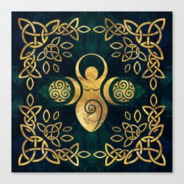 Triple Goddess with triskele - gold on shimmer green Canvas Print
