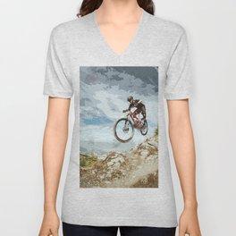 Flying Downhill on a Mountain Bike Unisex V-Neck