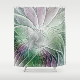 Colorful Fantasy Flower, Abstract Fractal Art Shower Curtain