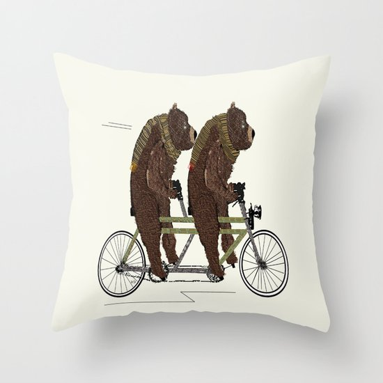 grizzly bears lets tandem Throw Pillow