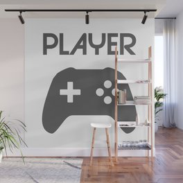 Player Text and Gamepad Wall Mural
