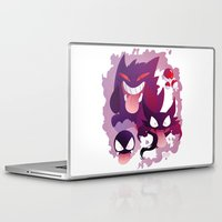 gengar Laptop & iPad Skins featuring Peek a boo! by MortinfamiART