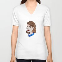 peggy carter V-neck T-shirts featuring Watercolour Peggy Carter by HayPaige