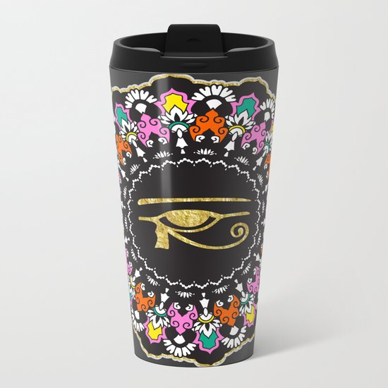 Eye of Horus Mandala Metal Travel Mug