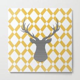 Deer - Abstract geometric pattern - beige and white. Metal Print
