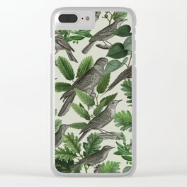Botanical Birds in Branches Digital Collage of Vintage Elements Clear iPhone Case