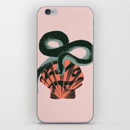 Black coral snake on pink background iPhone Skin