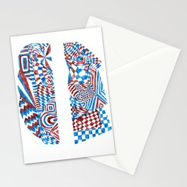 Striped Fish, Red/Blue Abstract Design (Ink Drawing) Stationery Cards