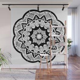 Moroccan black mandala on white Wall Mural