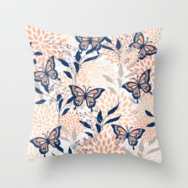 Floral, Butterflies Print, Coral, Navy Bue, Gray Throw Pillow