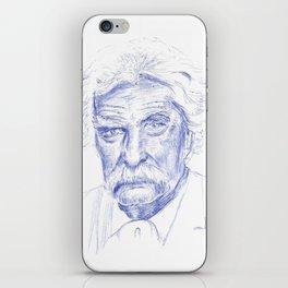 Mark Twain Portrait in Blue Bic Ink iPhone Skin
