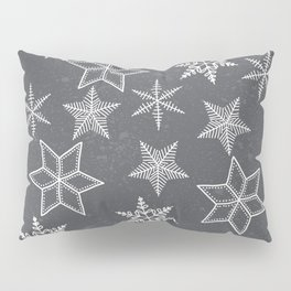 Snowflakes on grey background Pillow Sham