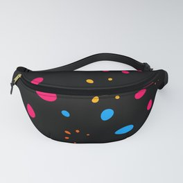Abstract bright vector hand drawn floral seamless pattern on a black background with petals. Fanny Pack