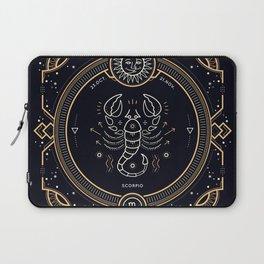 Scorpio Zodiac Golden White on Black Background Laptop Sleeve
