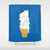 ilovedoodle Shower Curtains featuring Cats Ice Cream by I Love Doodle