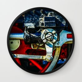 Red Wheels, Crosshead, Rods Of An Ancient Steam Locomotive Engine Wall Clock